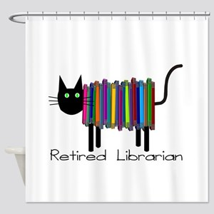 Retired Librarian Book Cat Shower Curtain