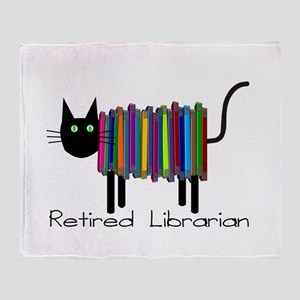 Retired Librarian Book Cat Throw Blanket