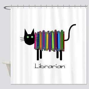 Librarian Book Cat Shower Curtain