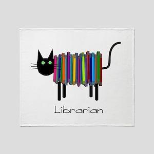 Librarian Book Cat Throw Blanket