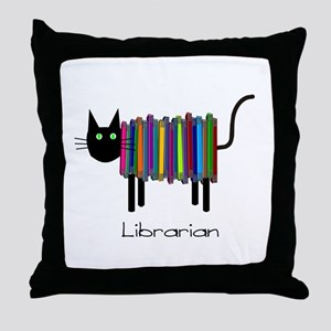 Librarian Book Cat Throw Pillow