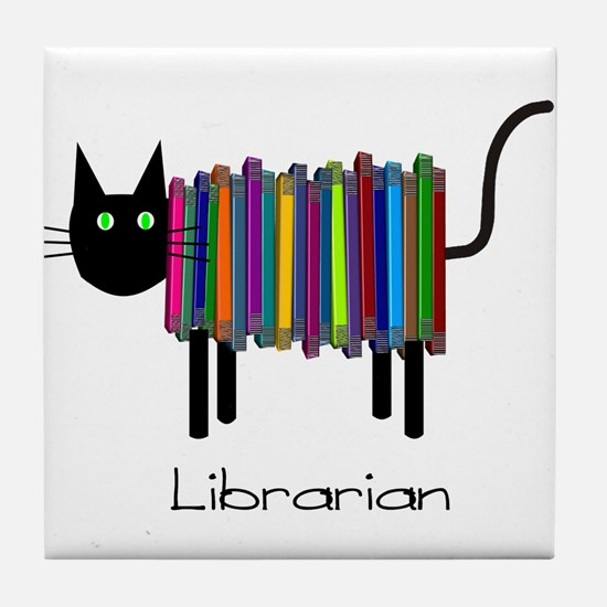 Librarian Book Cat.PNG Tile Coaster