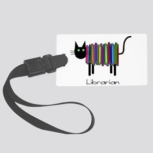 Librarian Book Cat Large Luggage Tag