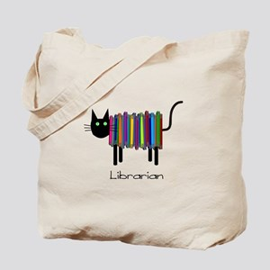 Librarian Book Cat Tote Bag