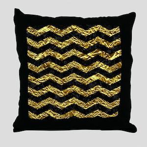 CHEVRON3 BLACK MARBLE & GOLD FOIL Throw Pillow