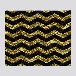 CHEVRON3 BLACK MARBLE & GOLD FOIL Throw Blanket