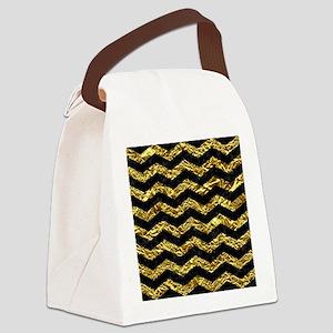 CHEVRON3 BLACK MARBLE & GOLD FOIL Canvas Lunch Bag