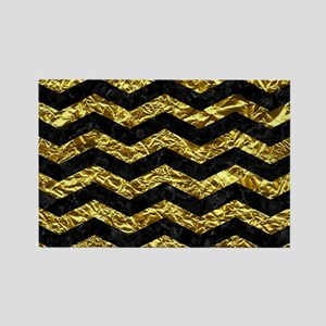CHEVRON3 BLACK MARBLE & GOLD FOIL Rectangle Magnet
