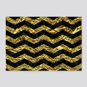 CHEVRON3 BLACK MARBLE & GOLD FOIL 5'x7'Area Rug