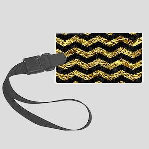 CHEVRON3 BLACK MARBLE & GOLD FOI Large Luggage Tag