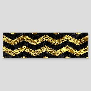 CHEVRON3 BLACK MARBLE & GOLD FOIL Sticker (Bumper)