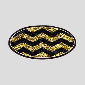 CHEVRON3 BLACK MARBLE & GOLD FOIL Patch