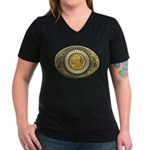 Indian gold oval 1 Women's V-Neck Dark T-Shirt