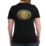 Indian gold oval 1 Women's V-Neck Dark T-Shirt