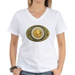 Indian gold oval 1 Women's V-Neck T-Shirt