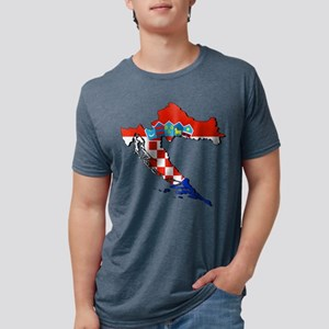 Flag Map of Croatia Mens Tri-blend T-Shirt