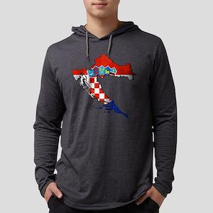 Flag Map of Croatia Mens Hooded Shirt