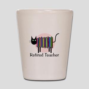 Retired Teacher Book Cat Shot Glass