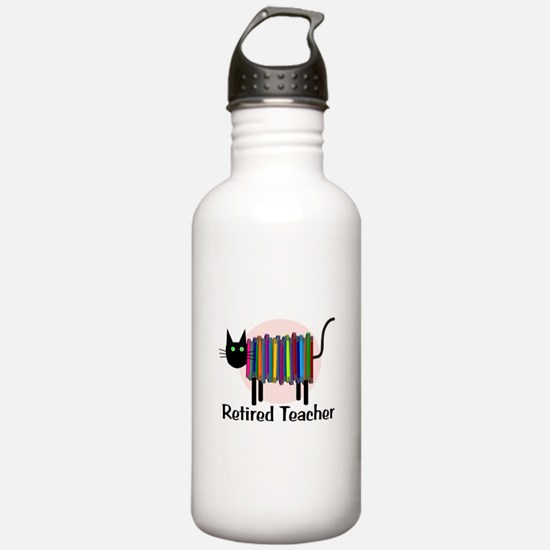 Retired Teacher Book Cat.PNG Water Bottle