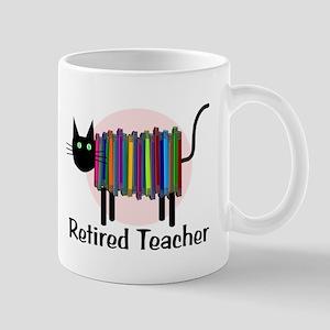 Retired Teacher Book Cat Mug