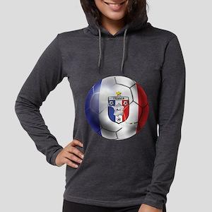 French Soccer Ball Womens Hooded Shirt