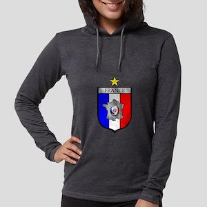 French Football Shield Womens Hooded Shirt