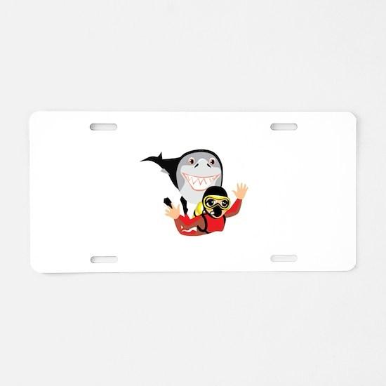 Shark Diver Aluminum License Plate