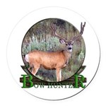 bow hunter, trophy buck. Round Car Magnet