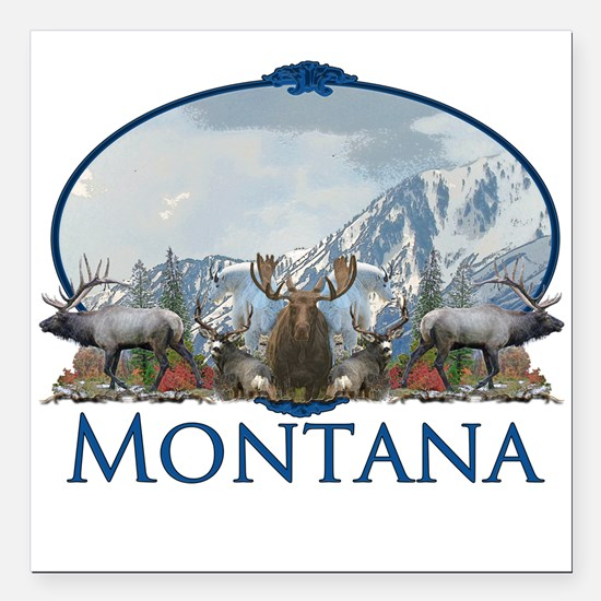 "Montana Square Car Magnet 3"" x 3"""