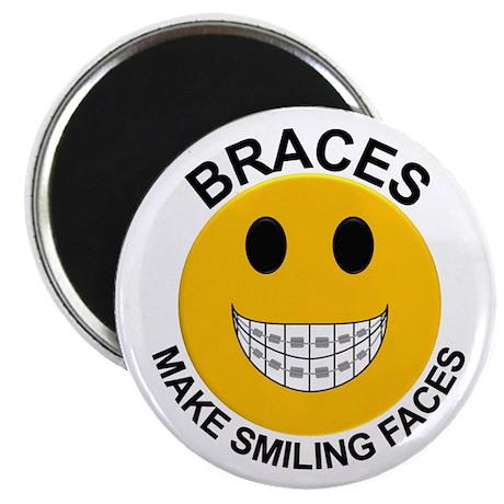 """Braces Make Smiling Faces 2.25"""" Magnet (100 pack)"""