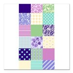 Girly pattern squares Square Car Magnet 3