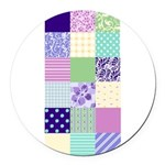 Girly pattern squares Round Car Magnet