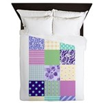 Girly pattern squares Queen Duvet