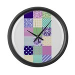 Girly pattern squares Large Wall Clock