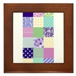 Girly pattern squares Framed Tile