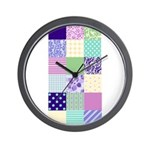 Girly pattern squares Wall Clock