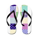 Girly pattern squares Flip Flops