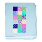Girly pattern squares baby blanket