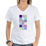 Girly pattern squares Women's V-Neck T-Shirt