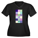 Girly pattern squares Women's Plus Size V-Neck Dar