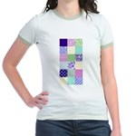 Girly pattern squares Jr. Ringer T-Shirt