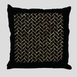 BRICK2 BLACK MARBLE & GOLD FOIL Throw Pillow