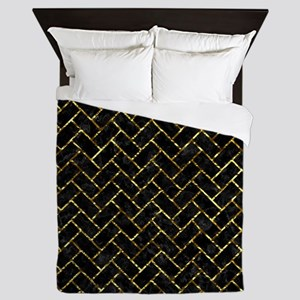 BRICK2 BLACK MARBLE & GOLD FOIL Queen Duvet