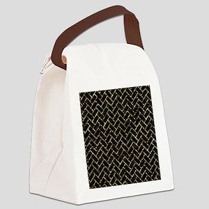 BRICK2 BLACK MARBLE & GOLD FOIL Canvas Lunch Bag