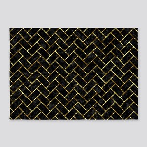 BRICK2 BLACK MARBLE & GOLD FOIL 5'x7'Area Rug