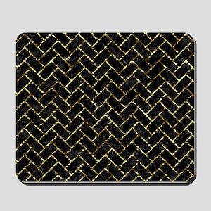 BRICK2 BLACK MARBLE & GOLD FOIL Mousepad