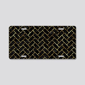 BRICK2 BLACK MARBLE & GOLD Aluminum License Plate
