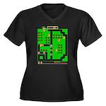 Mr Do! Game Screen Women's Plus Size V-Neck Dark T