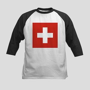 Flag of Switzerland Kids Baseball Jersey
