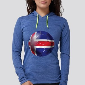 Iceland Soccer Ball Womens Hooded Shirt